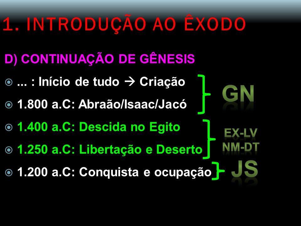 GN JS 1. INTRODUÇÃO AO ÊXODO D) CONTINUAÇÃO DE GÊNESIS