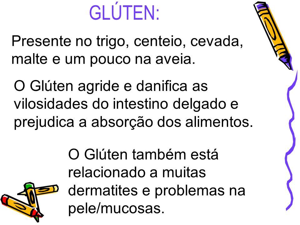 GLÚTEN: Presente no trigo, centeio, cevada, malte e um pouco na aveia.
