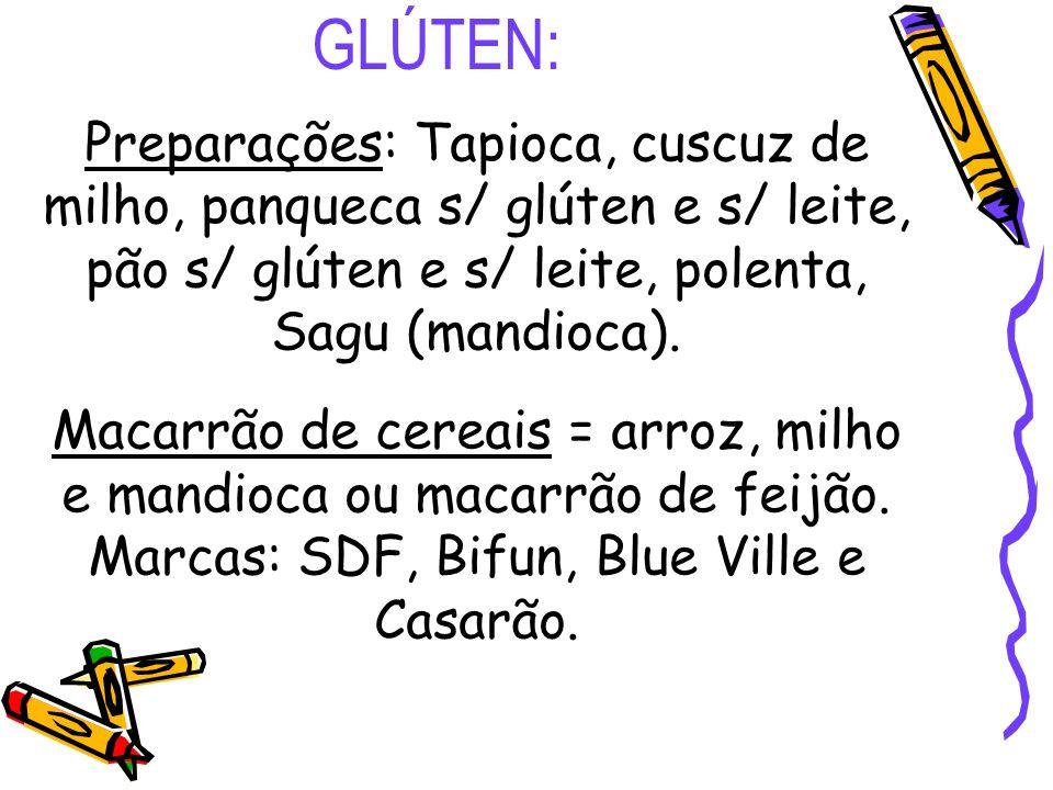 GLÚTEN: Preparações: Tapioca, cuscuz de milho, panqueca s/ glúten e s/ leite, pão s/ glúten e s/ leite, polenta, Sagu (mandioca).