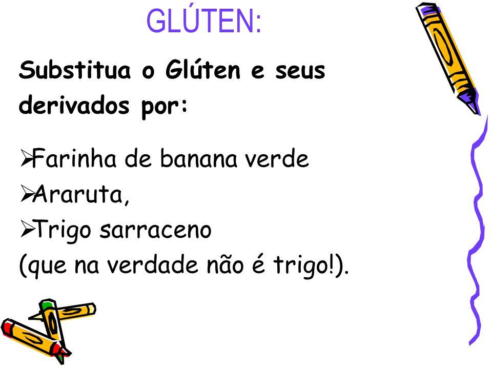 GLÚTEN: Substitua o Glúten e seus derivados por: