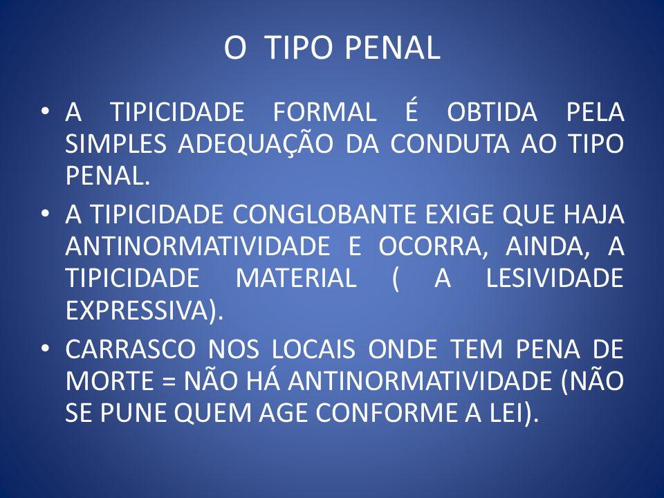 O TIPO PENAL A TIPICIDADE FORMAL É OBTIDA PELA SIMPLES ADEQUAÇÃO DA CONDUTA AO TIPO PENAL.