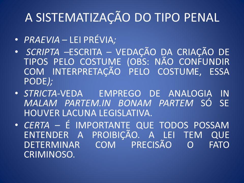 A SISTEMATIZAÇÃO DO TIPO PENAL