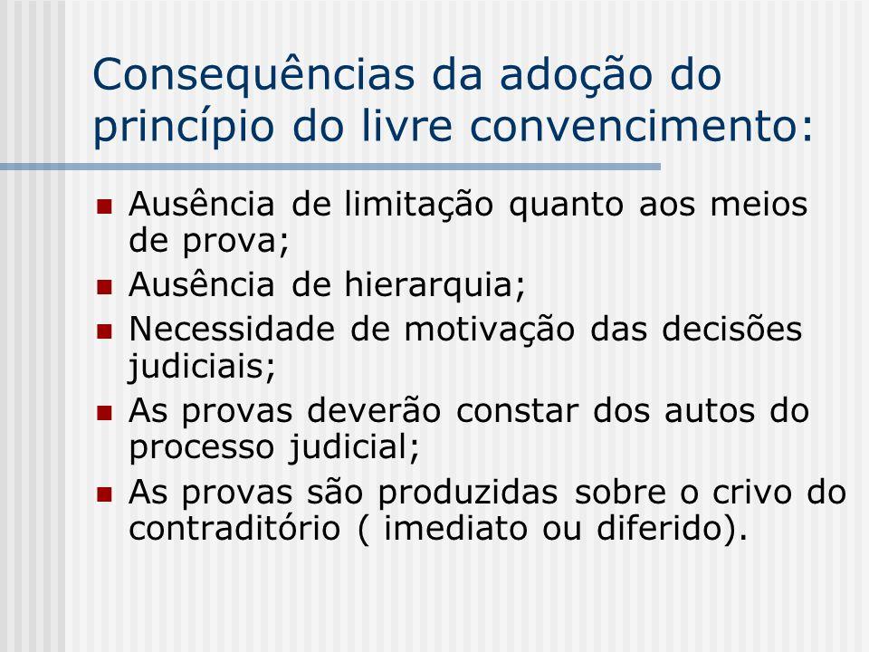 Consequências da adoção do princípio do livre convencimento: