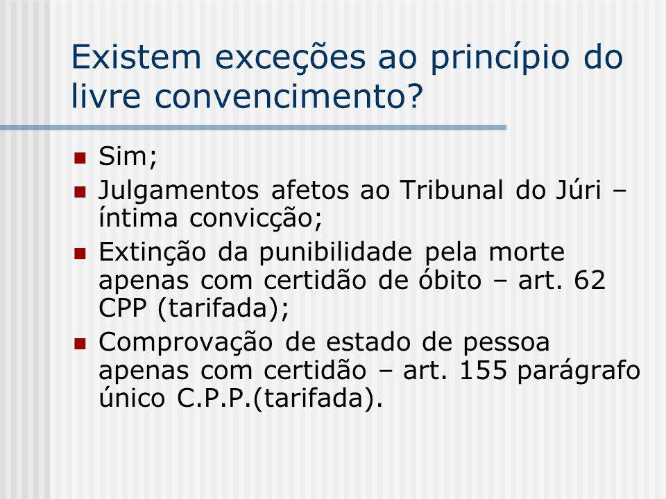 Existem exceções ao princípio do livre convencimento