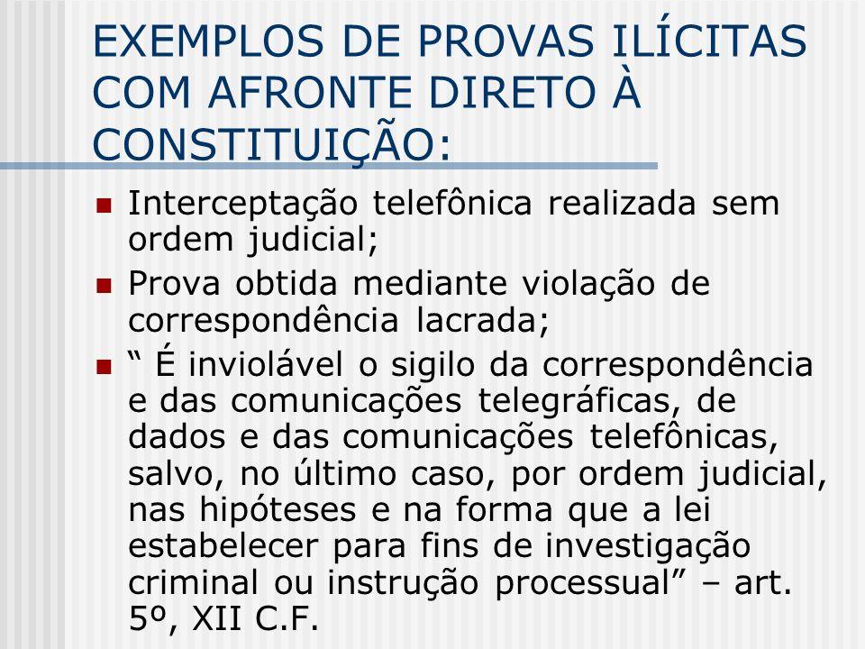 EXEMPLOS DE PROVAS ILÍCITAS COM AFRONTE DIRETO À CONSTITUIÇÃO: