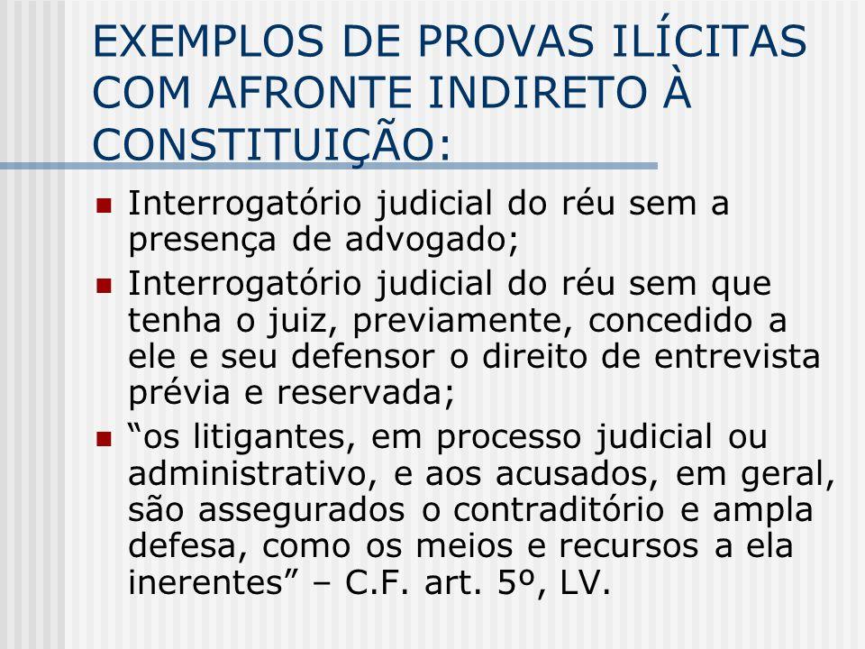 EXEMPLOS DE PROVAS ILÍCITAS COM AFRONTE INDIRETO À CONSTITUIÇÃO: