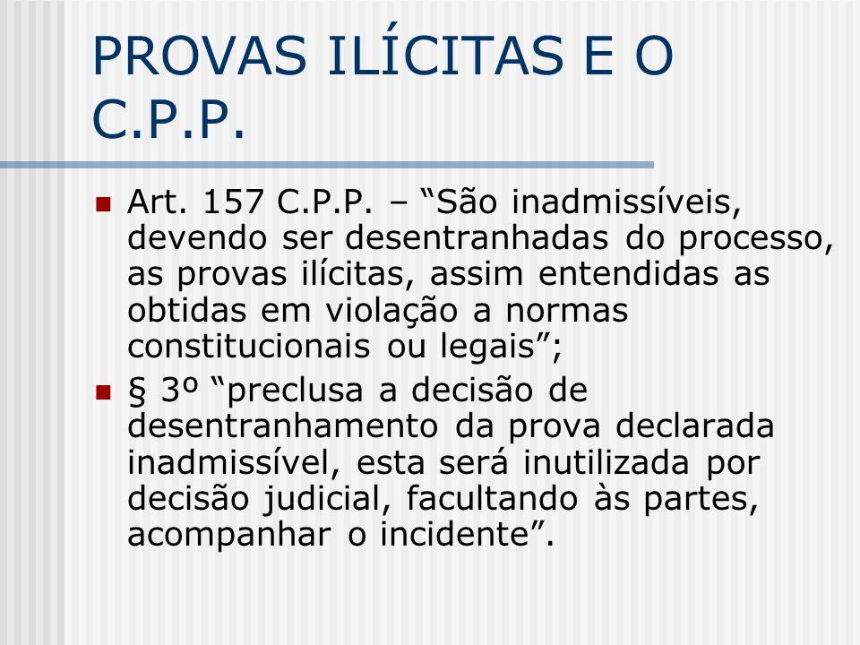PROVAS ILÍCITAS E O C.P.P.