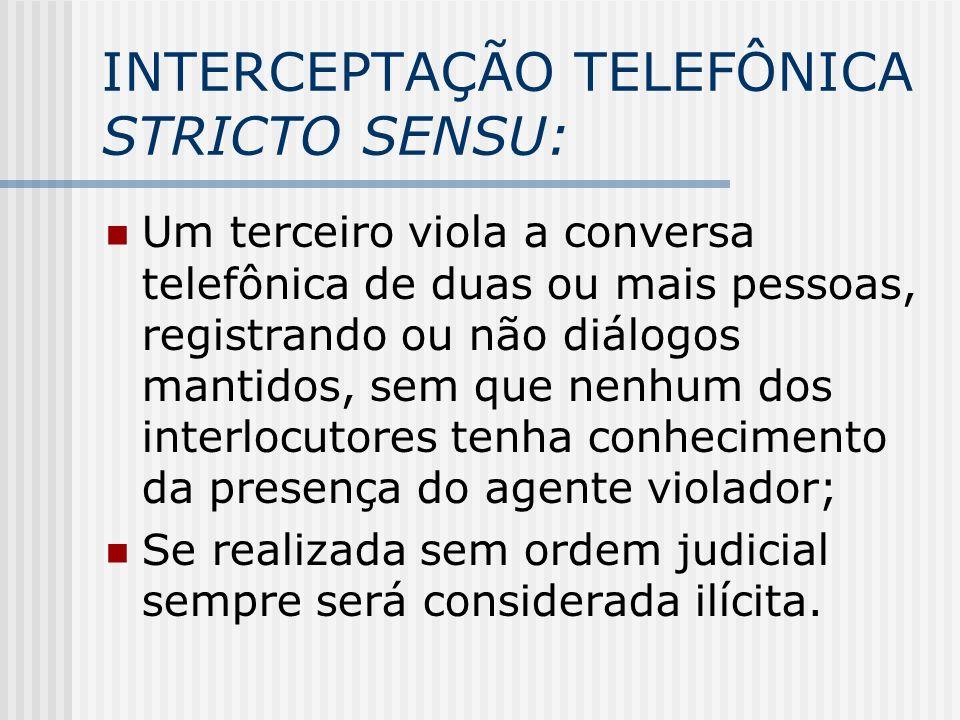 INTERCEPTAÇÃO TELEFÔNICA STRICTO SENSU: