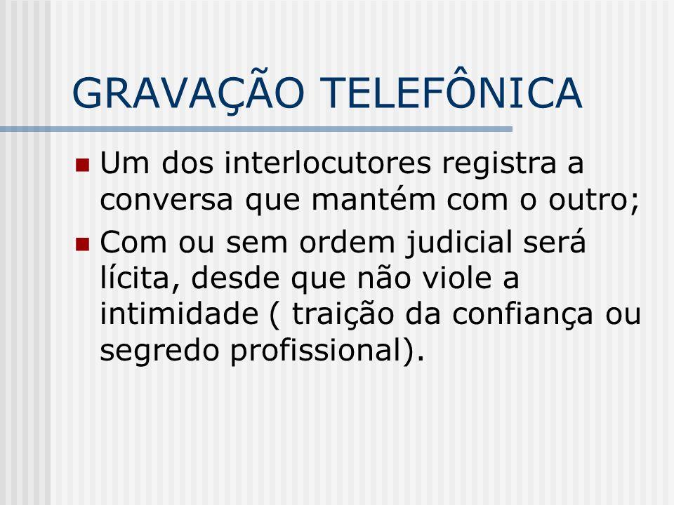 GRAVAÇÃO TELEFÔNICA Um dos interlocutores registra a conversa que mantém com o outro;