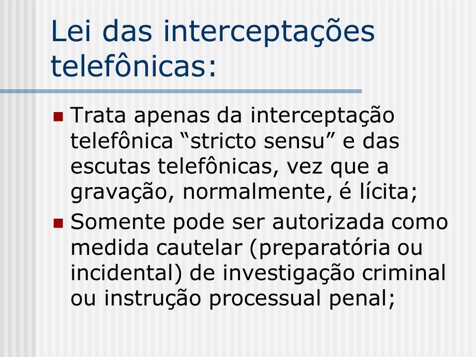 Lei das interceptações telefônicas: