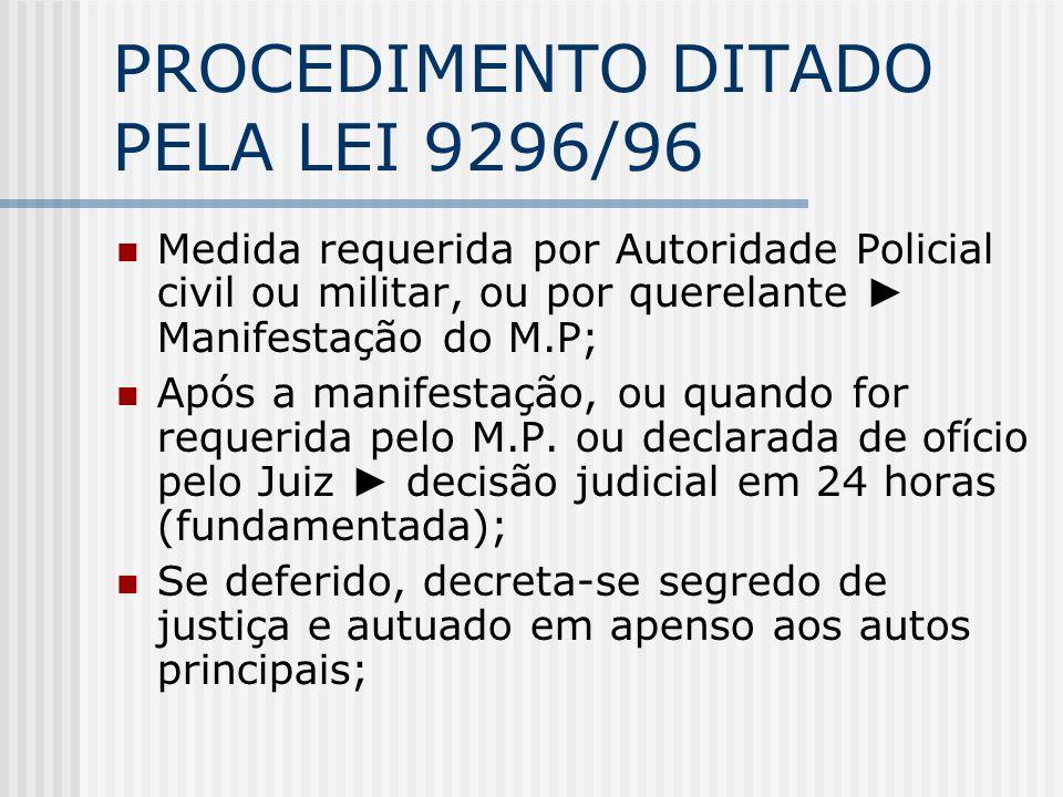 PROCEDIMENTO DITADO PELA LEI 9296/96