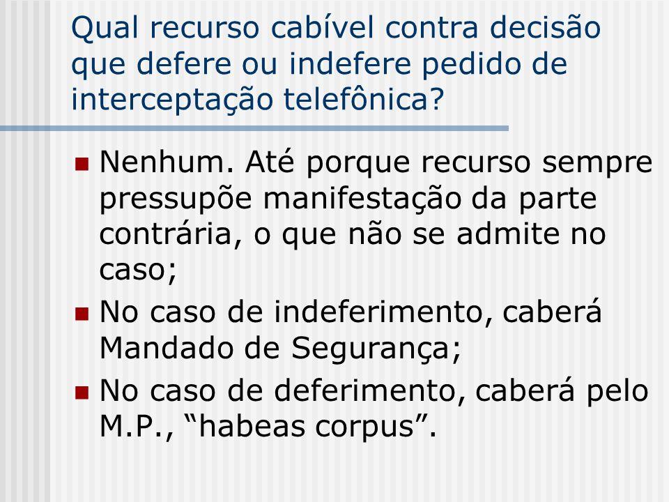 Qual recurso cabível contra decisão que defere ou indefere pedido de interceptação telefônica