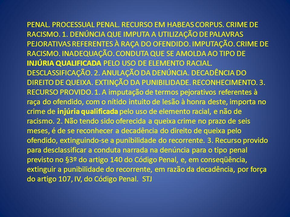 PENAL. PROCESSUAL PENAL. RECURSO EM HABEAS CORPUS. CRIME DE RACISMO. 1