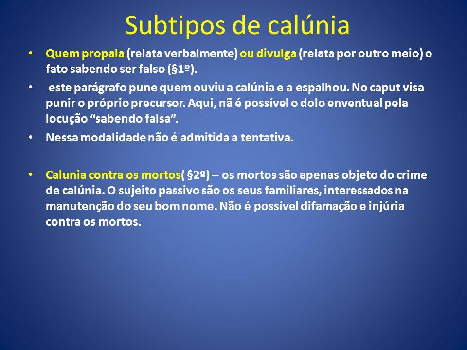 Subtipos de calúnia Quem propala (relata verbalmente) ou divulga (relata por outro meio) o fato sabendo ser falso (§1º).