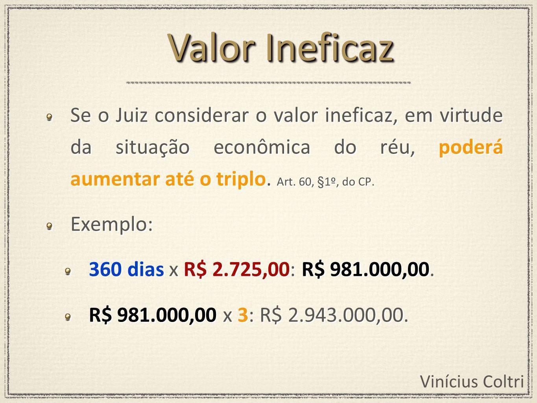 Valor Ineficaz Se o Juiz considerar o valor ineficaz, em virtude da situação econômica do réu, poderá aumentar até o triplo. Art. 60, §1º, do CP.