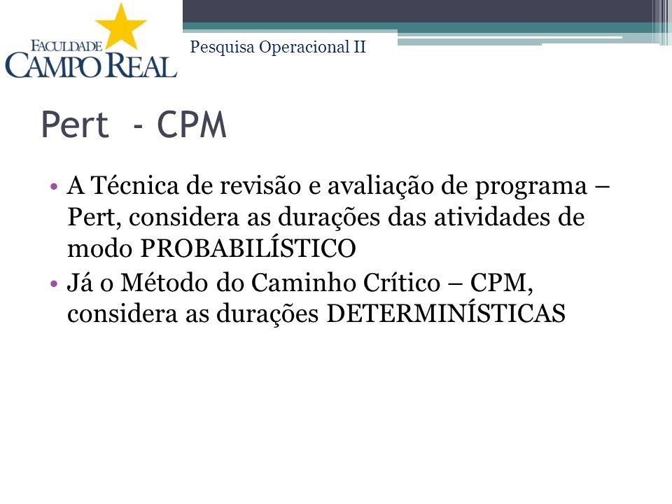 Pert - CPM A Técnica de revisão e avaliação de programa – Pert, considera as durações das atividades de modo PROBABILÍSTICO.