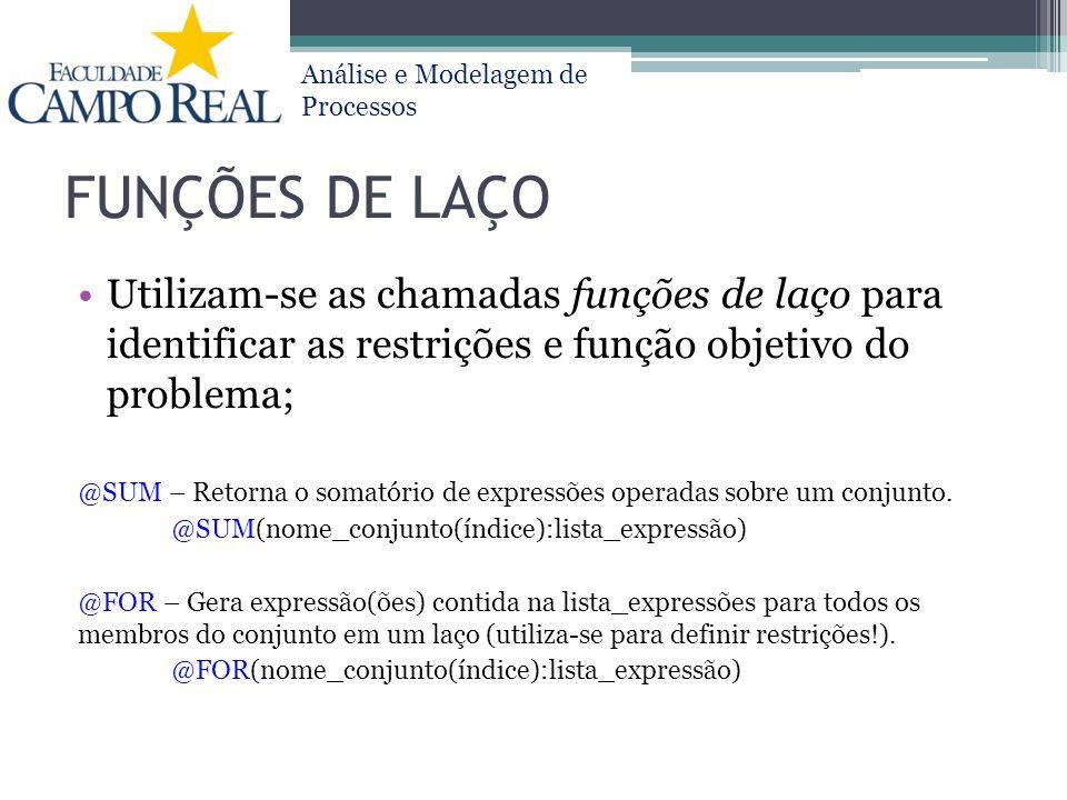 FUNÇÕES DE LAÇO Utilizam-se as chamadas funções de laço para identificar as restrições e função objetivo do problema;