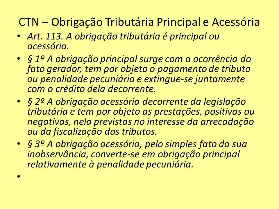 CTN – Obrigação Tributária Principal e Acessória