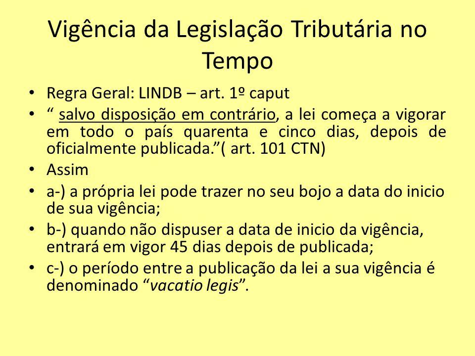 Vigência da Legislação Tributária no Tempo