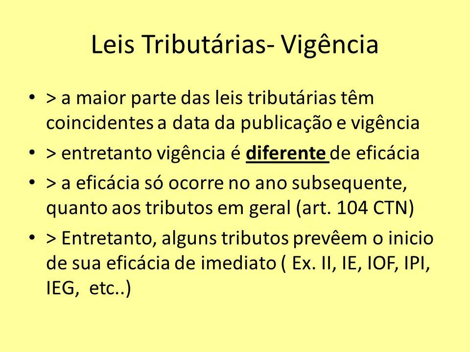 Leis Tributárias- Vigência