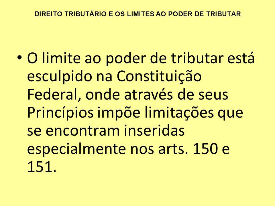 DIREITO TRIBUTÁRIO E OS LIMITES AO PODER DE TRIBUTAR