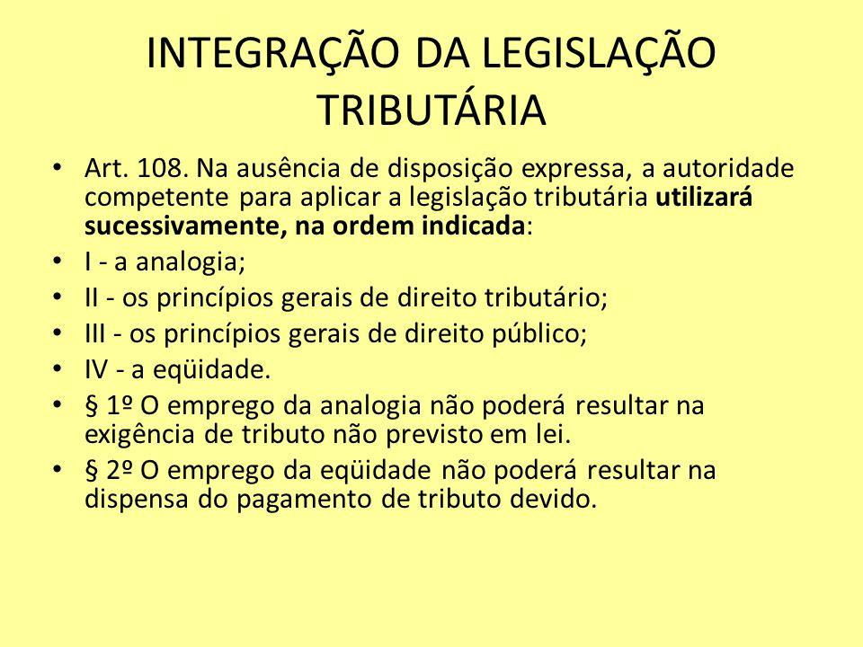INTEGRAÇÃO DA LEGISLAÇÃO TRIBUTÁRIA