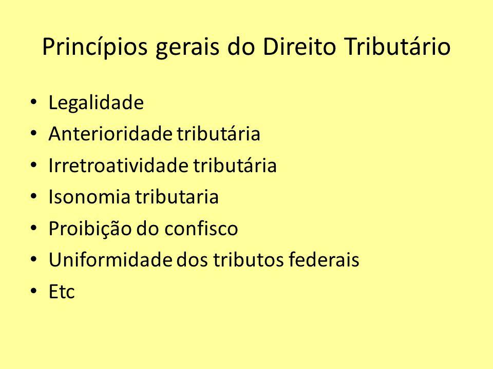 Princípios gerais do Direito Tributário