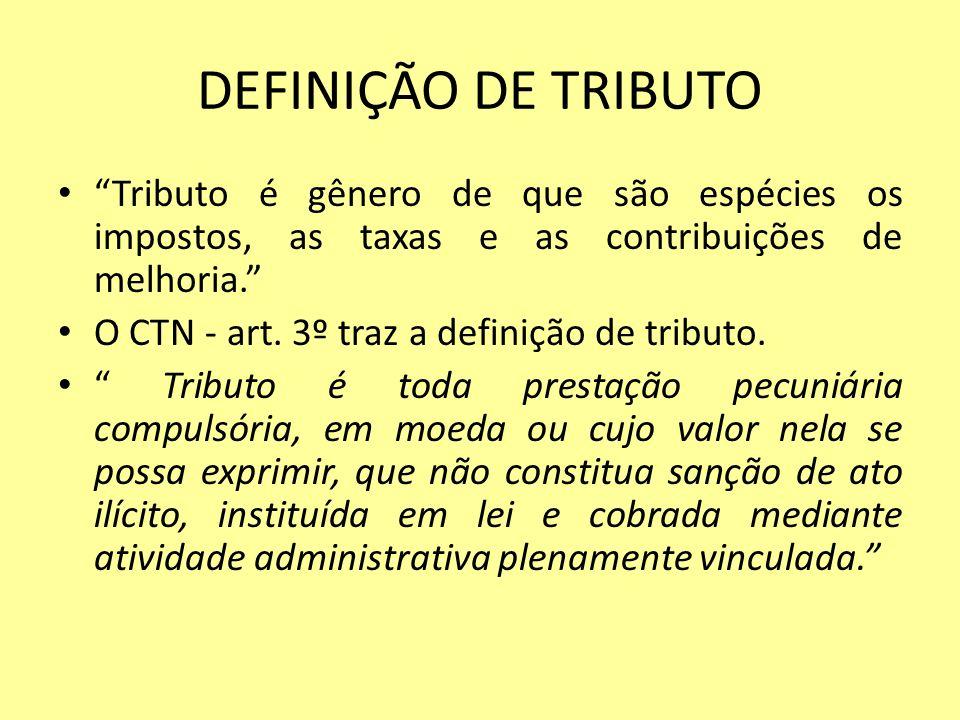 DEFINIÇÃO DE TRIBUTO Tributo é gênero de que são espécies os impostos, as taxas e as contribuições de melhoria.