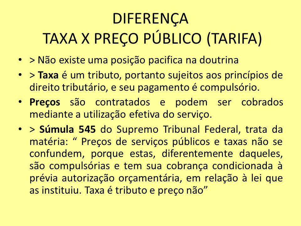 DIFERENÇA TAXA X PREÇO PÚBLICO (TARIFA)