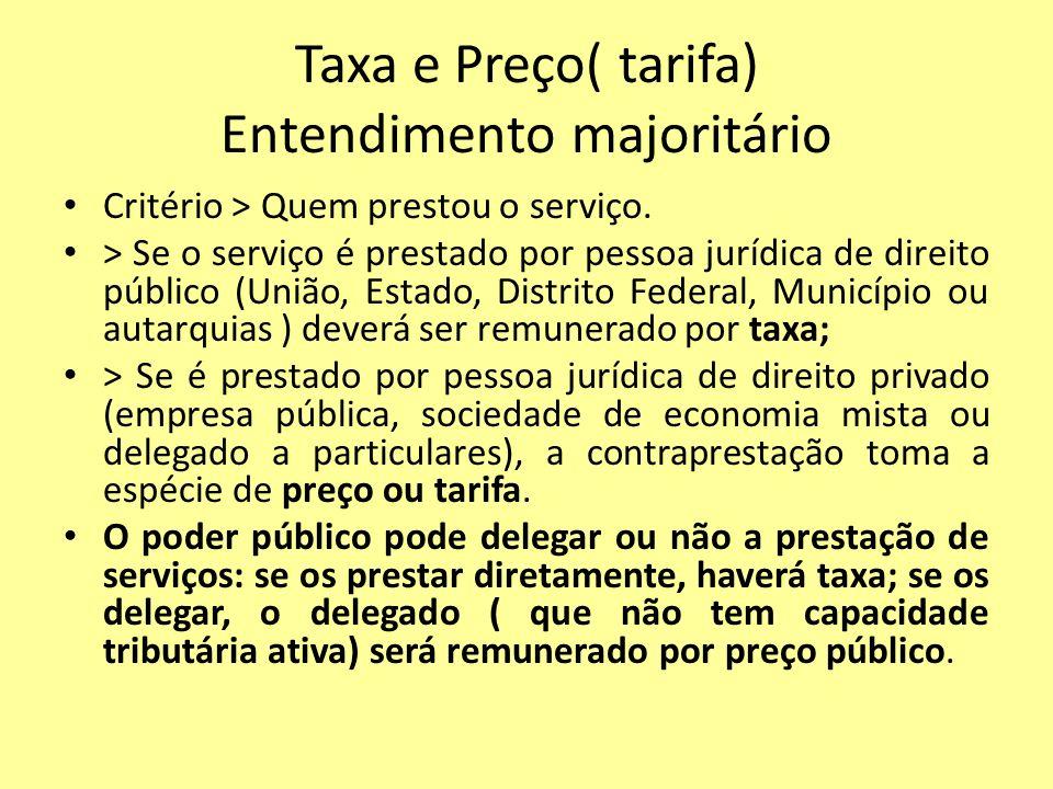 Taxa e Preço( tarifa) Entendimento majoritário