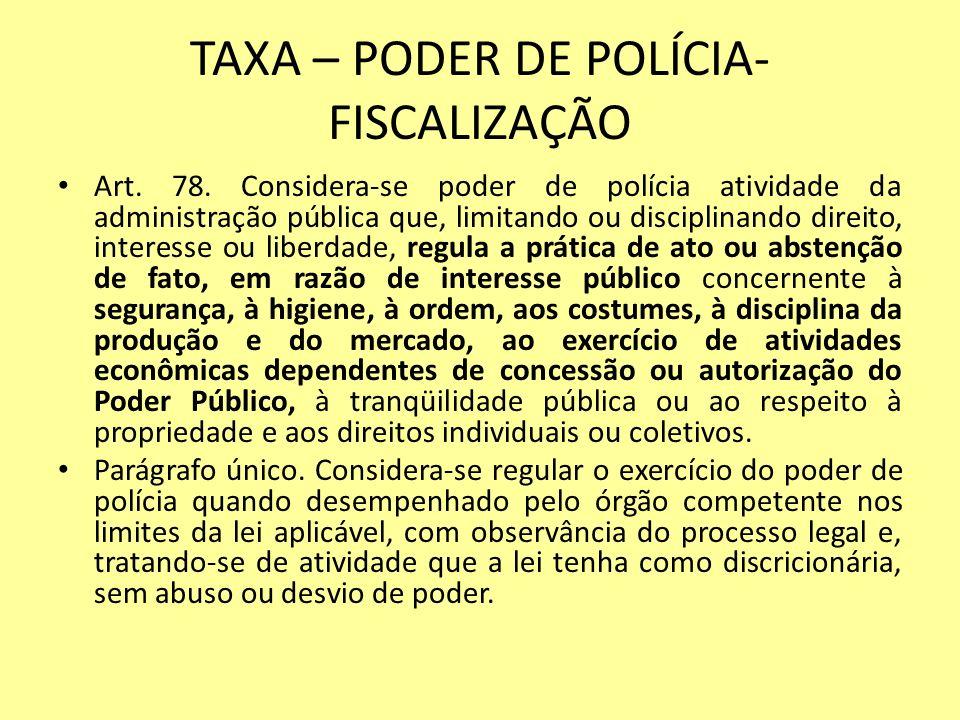 TAXA – PODER DE POLÍCIA- FISCALIZAÇÃO
