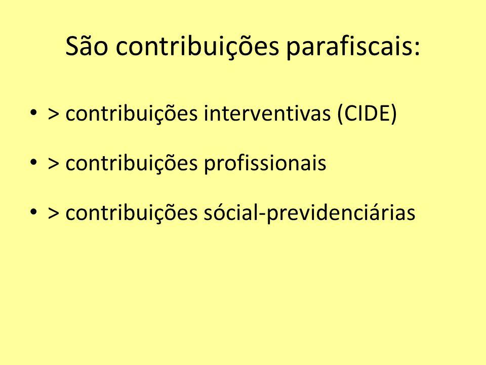 São contribuições parafiscais: