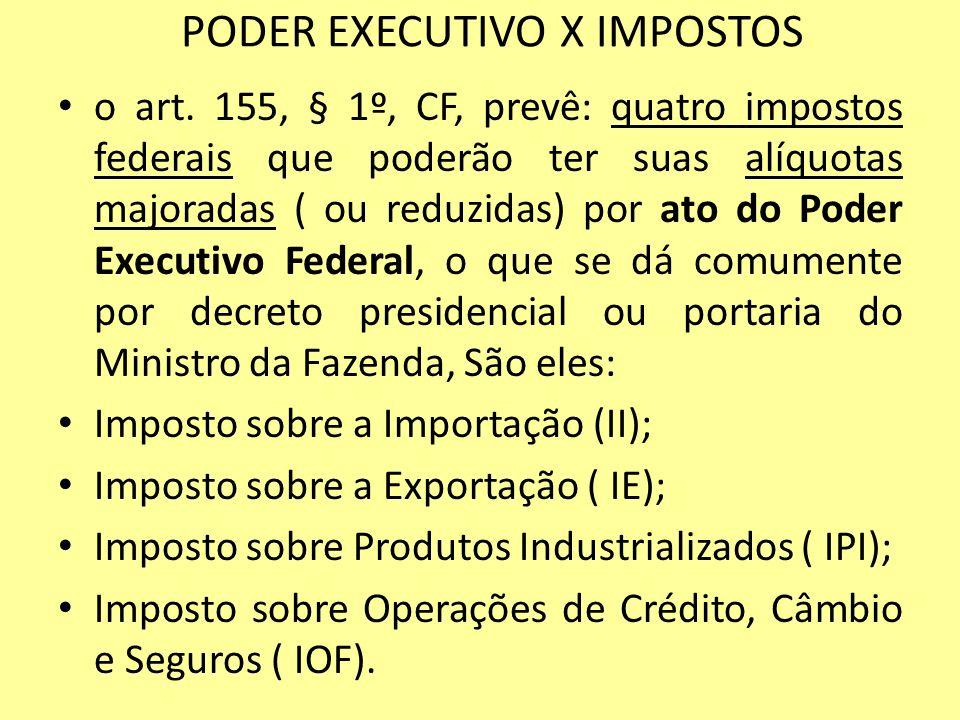 PODER EXECUTIVO X IMPOSTOS