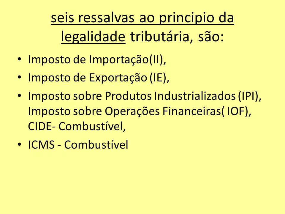 seis ressalvas ao principio da legalidade tributária, são: