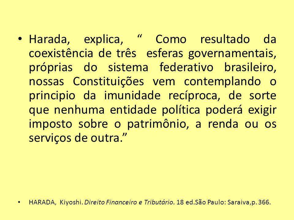 Harada, explica, Como resultado da coexistência de três esferas governamentais, próprias do sistema federativo brasileiro, nossas Constituições vem contemplando o principio da imunidade recíproca, de sorte que nenhuma entidade política poderá exigir imposto sobre o patrimônio, a renda ou os serviços de outra.