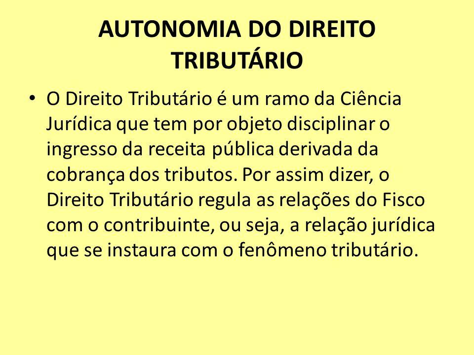 AUTONOMIA DO DIREITO TRIBUTÁRIO