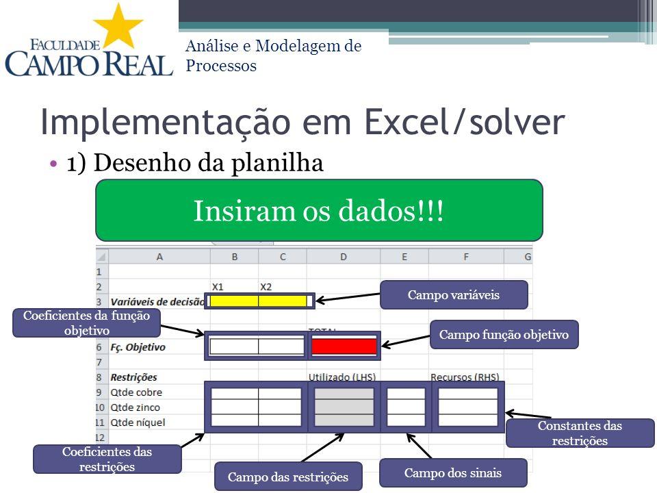 Implementação em Excel/solver