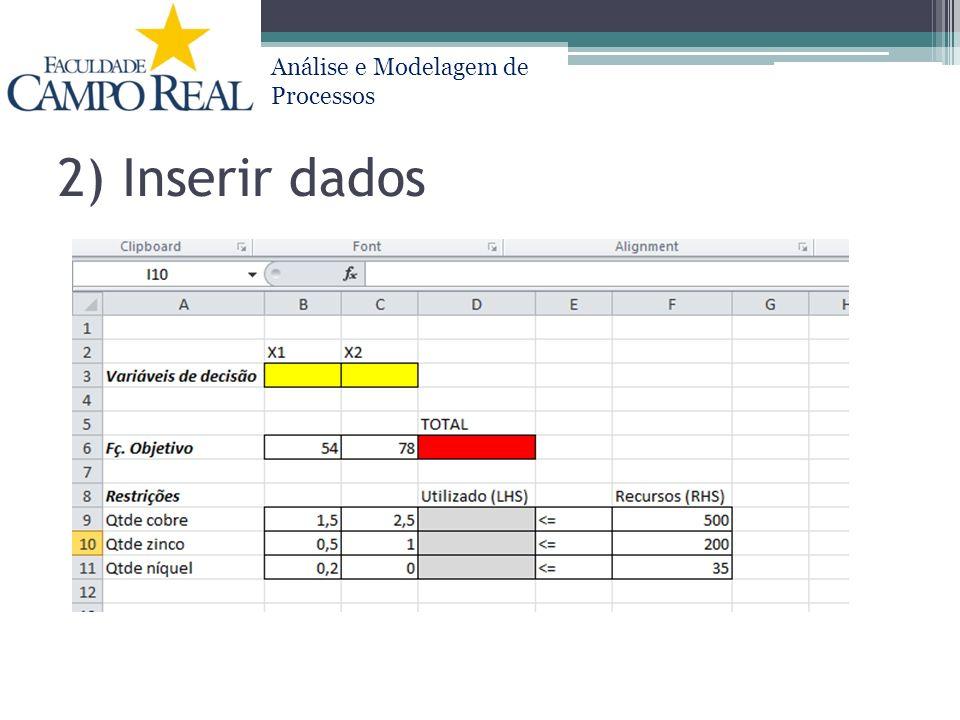2) Inserir dados