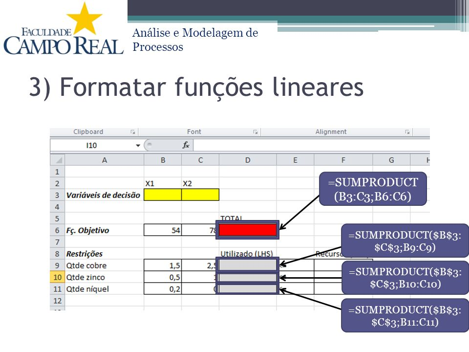 3) Formatar funções lineares
