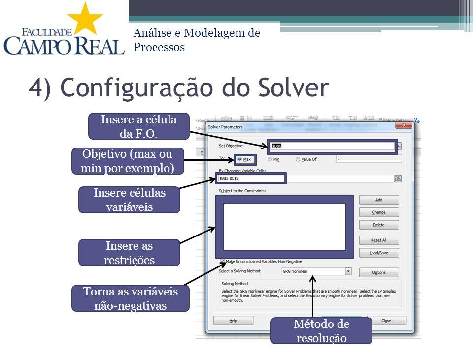 4) Configuração do Solver