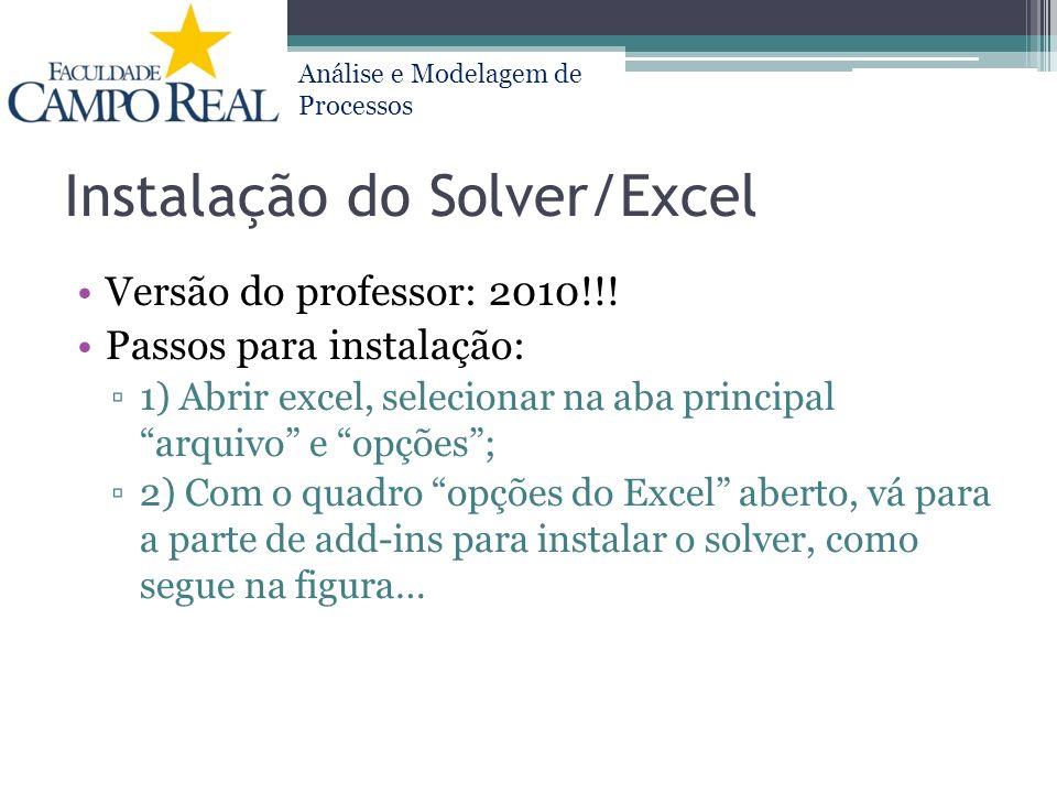 Instalação do Solver/Excel