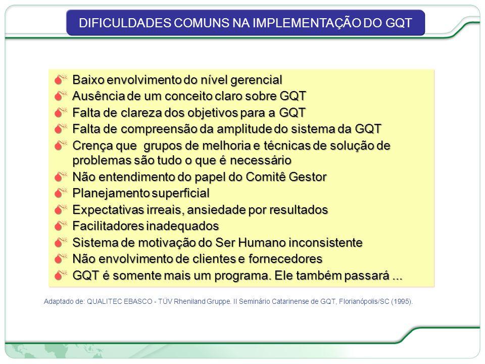 DIFICULDADES COMUNS NA IMPLEMENTAÇÃO DO GQT