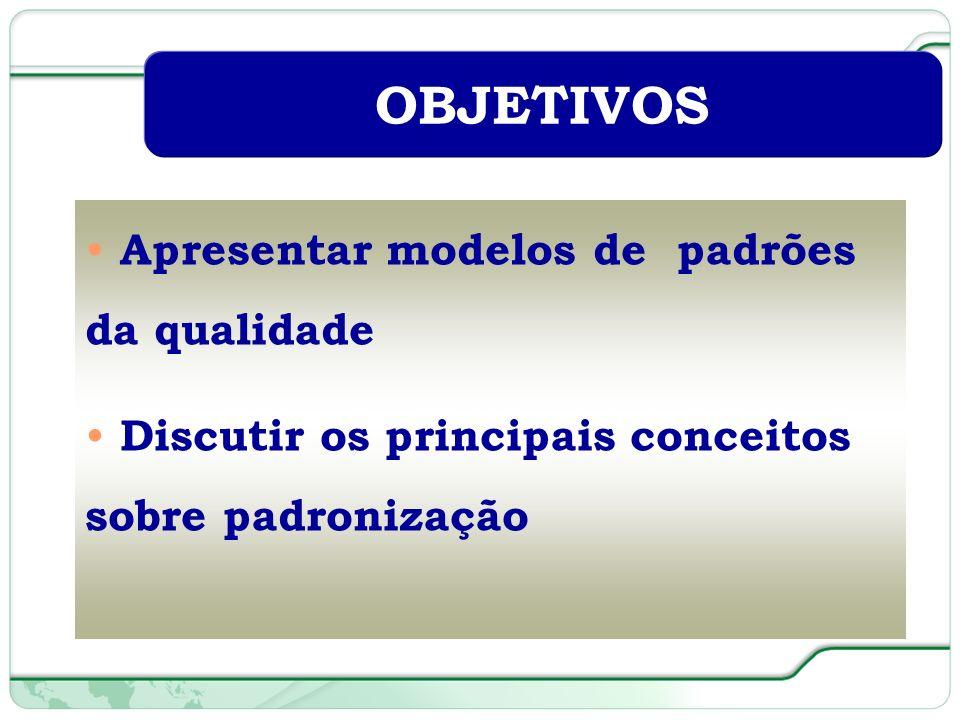 OBJETIVOS Apresentar modelos de padrões da qualidade
