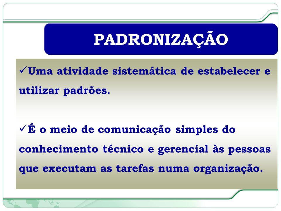 PADRONIZAÇÃO Uma atividade sistemática de estabelecer e utilizar padrões.