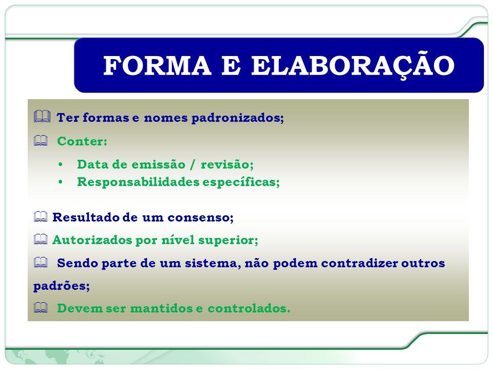 FORMA E ELABORAÇÃO Ter formas e nomes padronizados; Conter: