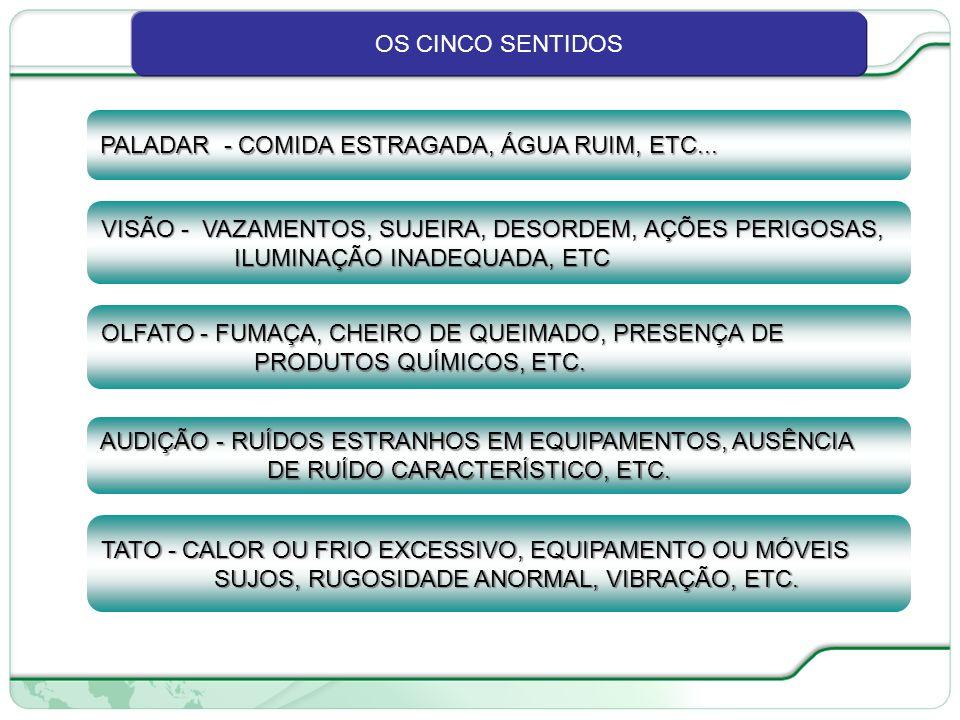 OS CINCO SENTIDOS PALADAR - COMIDA ESTRAGADA, ÁGUA RUIM, ETC... VISÃO - VAZAMENTOS, SUJEIRA, DESORDEM, AÇÕES PERIGOSAS,