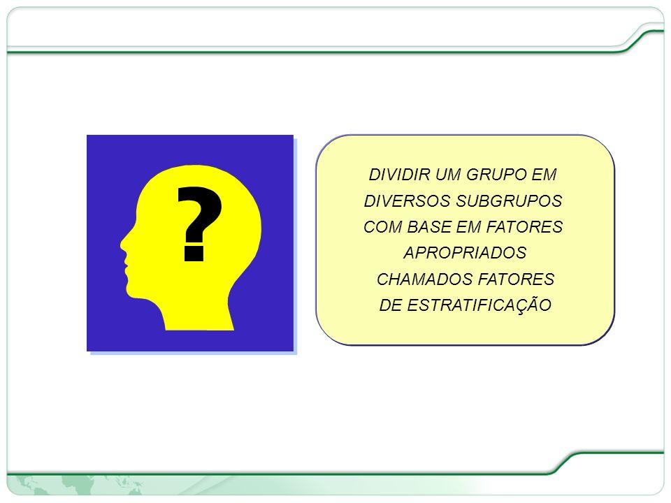DIVIDIR UM GRUPO EM DIVERSOS SUBGRUPOS. COM BASE EM FATORES.