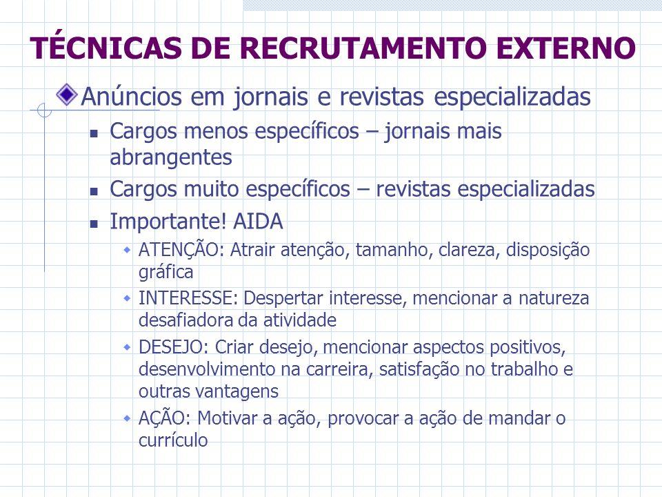 TÉCNICAS DE RECRUTAMENTO EXTERNO