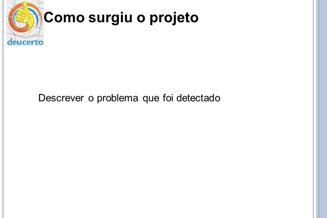 Como surgiu o projeto Descrever o problema que foi detectado