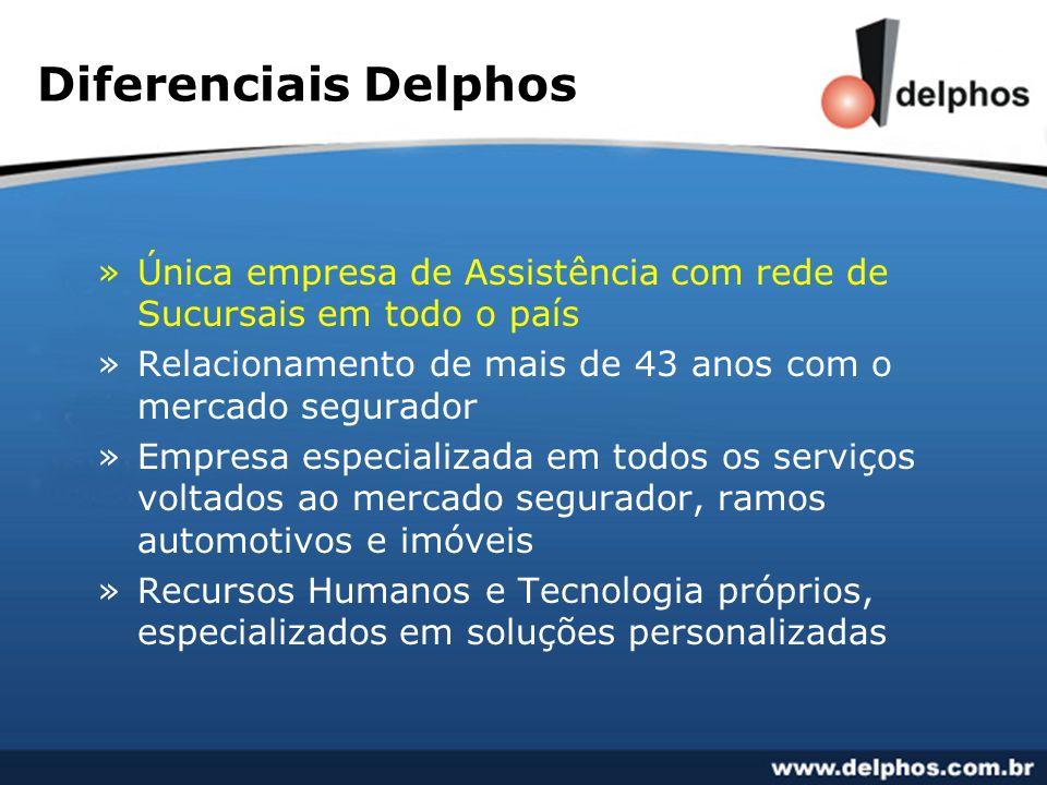 Diferenciais Delphos Única empresa de Assistência com rede de Sucursais em todo o país. Relacionamento de mais de 43 anos com o mercado segurador.